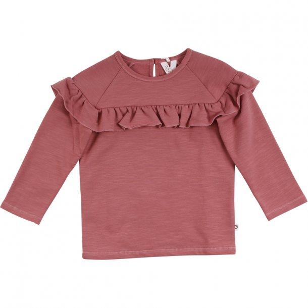 Bluse med flæser - slub frill shirt - Dream rose - Mûsli