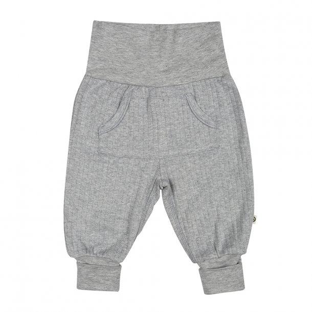 Grå Müsli basis bukser med lomme - gråmeleret