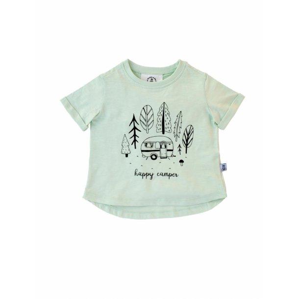 Turkis T-shirt med print i økologisk bomuld - dusty aqua