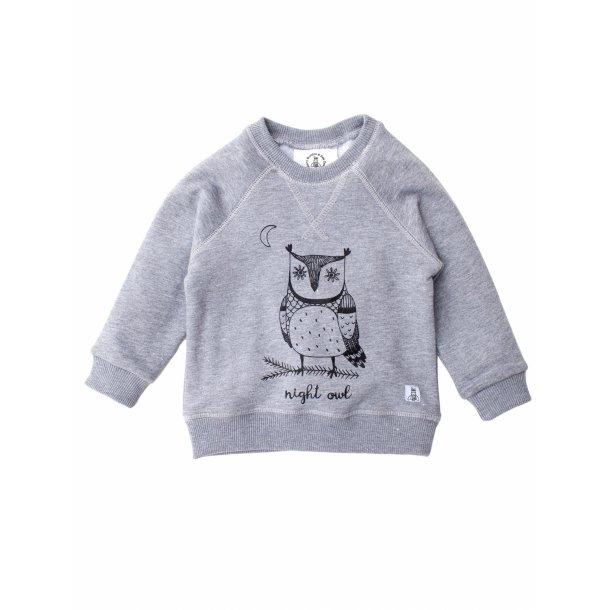Grå sweatshirt i økologisk bomuld - Night Owl - Bumble & Bee