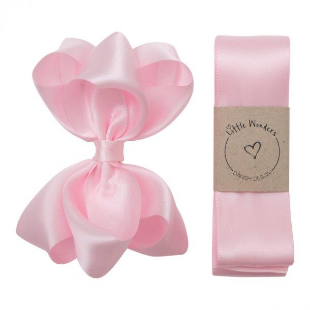 Dåbsbånd til piger i lyserød silke