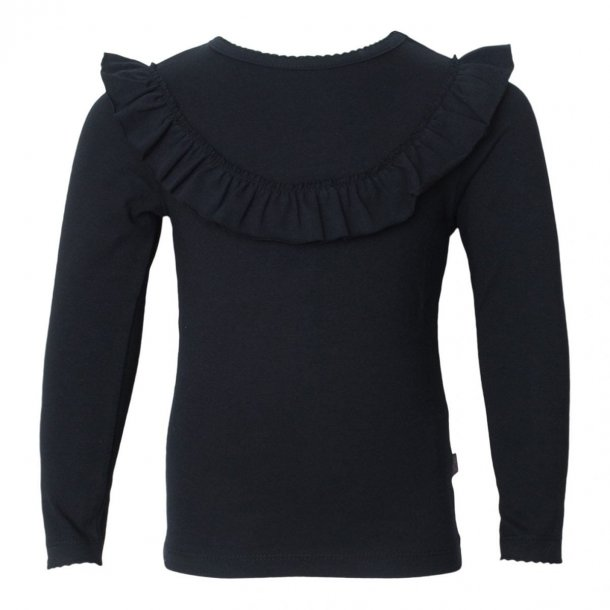Langærmet sort bluse med flæse