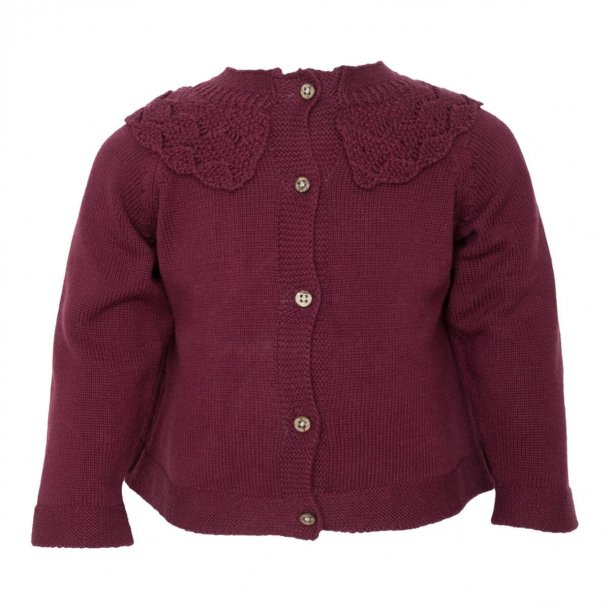 Little Wonders strik cardigan i bordeaux