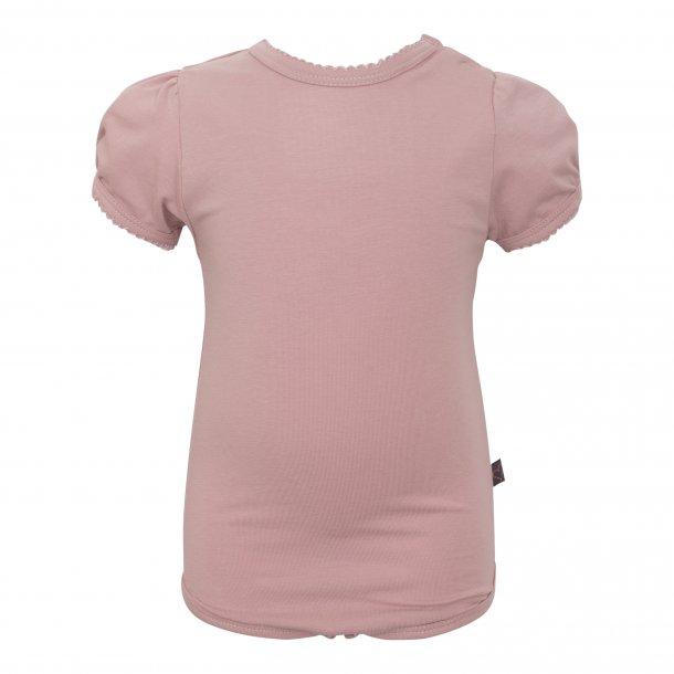 Støvet rosa kortærmet body med puf ærmer - Little Wonders
