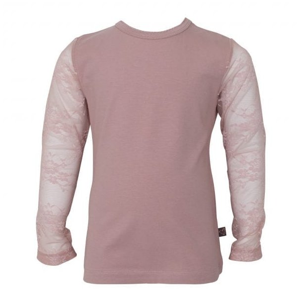 Støvet rosa bluse med blondeærmer - Little Wonders