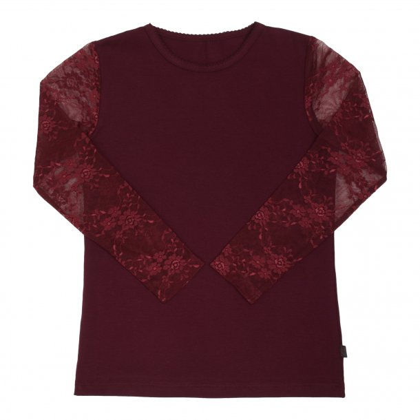 Bordeaux bluse med blondeærmer - Little Wonders
