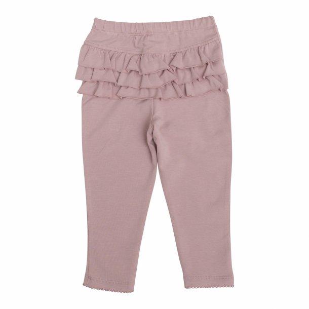 Leggings i støvet rosa med flæser