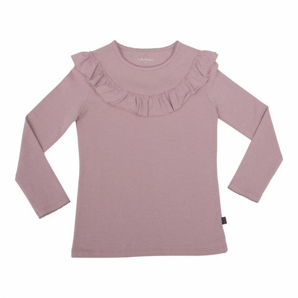 Langærmet bluse med flæse i støvet rosa