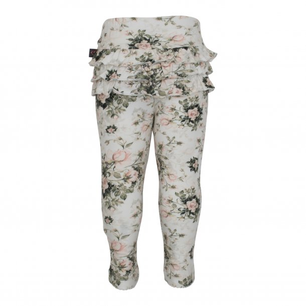 Leggings med flæser i light rose (blomsterprint) - Little Wonders