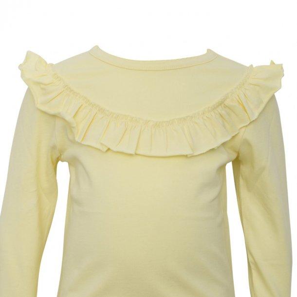 Little Wonders pastel gul langærmet bluse med flæser