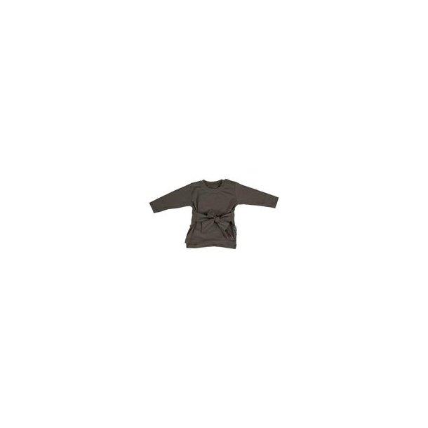 Bow it up LS trøje med bindebånd -dark taupe
