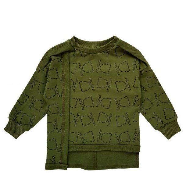 Khaki grøn asymmetrisk sweatshirt med Strojmisie´s eget design